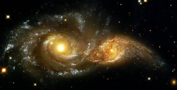 Nebula Poster featuring the photograph Two Spiral Galaxies by The Vault - Jennifer Rondinelli Reilly