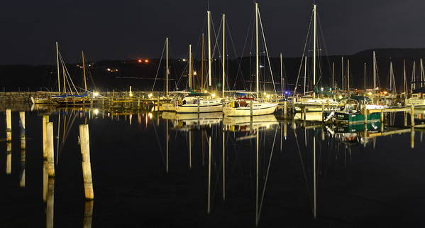 Harbor Poster featuring the photograph Black As Night by Frozen in Time Fine Art Photography