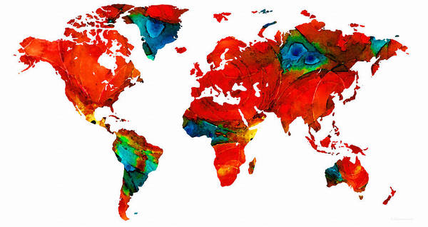 Sharon Cummings Poster featuring the painting World Map 12 - Colorful Red Map By Sharon Cummings by Sharon Cummings
