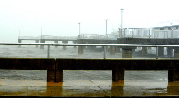 Cedar Key Pier Poster featuring the photograph Big Dock Tropical Storm by Sheri McLeroy