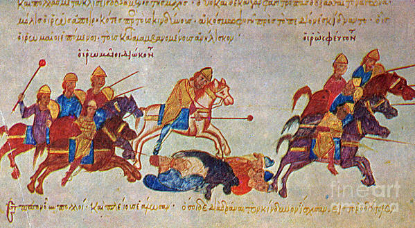 History Poster featuring the photograph Byzantines Cavalrymen Pursuing The Rus by Photo Researchers