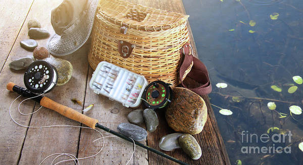 Activity Poster featuring the photograph Close-up Of Fishing Equipment And Hat by Sandra Cunningham