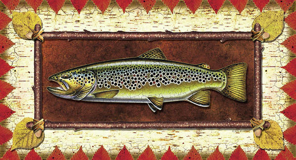 Trout Poster featuring the painting Brown Trout Lodge by JQ Licensing