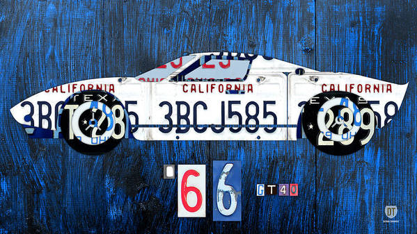Ford Poster featuring the mixed media 1966 Ford Gt40 License Plate Art By Design Turnpike by Design Turnpike