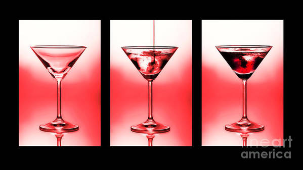 Alchoholic Poster featuring the photograph Cocktail Triptych In Red by Jane Rix