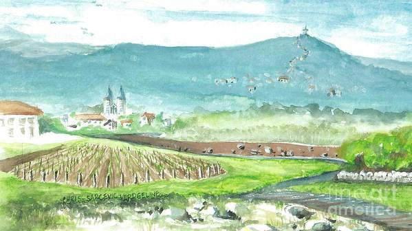 Easter Poster featuring the painting Medjugorje Fields by Christina Verdgeline