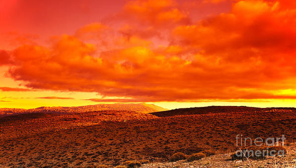 Africa Poster featuring the photograph Dramatic Red Sunset At Desert by Anna Omelchenko