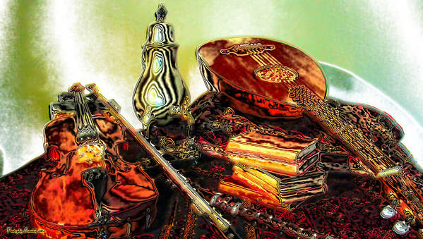 Poster featuring the digital art Still Life. Musical Instruments. by Tautvydas Davainis