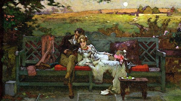 Couple; Married; Bench; Reclining; Reading; Relaxed; Love; Garden Seat; Romantic; Bench Poster featuring the painting The Honeymoon by Marcus Stone