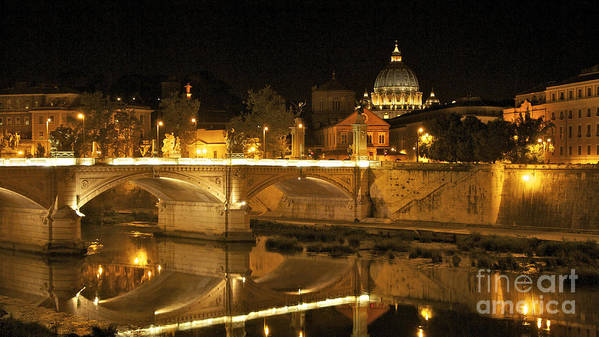 Worth Poster featuring the photograph Tiber River And Ponte Vittorio Emanuele II Bridge With St. Peter's Basilica. Vatican City. Rome by Bernard Jaubert