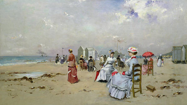 Plage Poster featuring the painting La Plage De Trouville by Paul Rossert