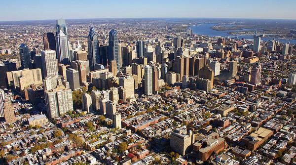 Philadelphia Poster featuring the photograph Philadelphia Skyline Aerial Graduate Hospital Rittenhouse Square Cityscape by Duncan Pearson