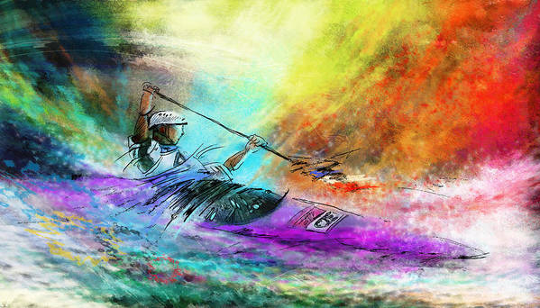 Sports Poster featuring the painting Olympics Canoe Slalom 03 by Miki De Goodaboom