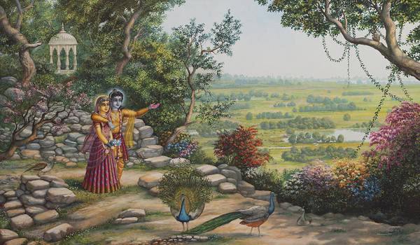 Krishna Poster featuring the painting Radha And Krishna On Govardhan by Vrindavan Das