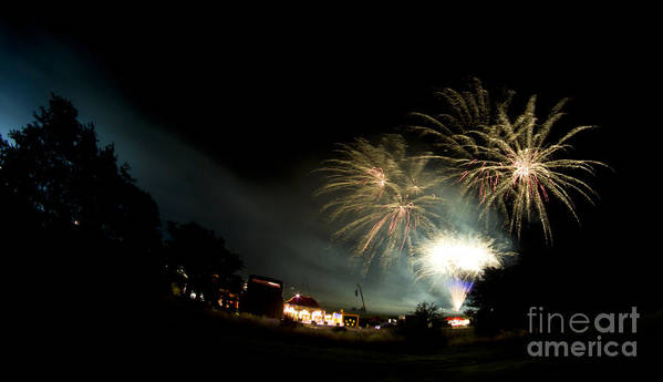 Night Poster featuring the photograph Fireworks by Angel Tarantella