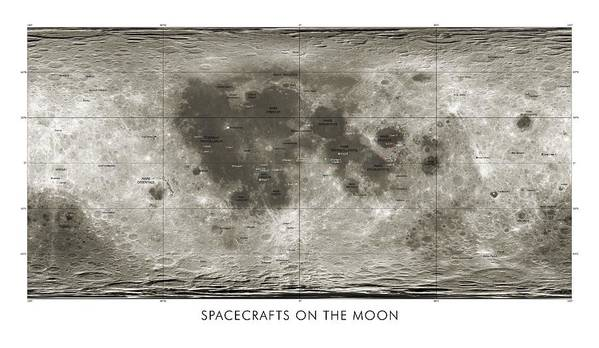 Ranger Poster featuring the photograph Spacecraft On The Moon, Lunar Map by Detlev Van Ravenswaay