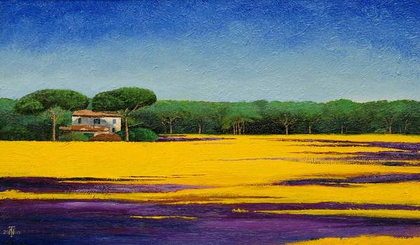 Colourful; Colorful;tuscany; Italian Landscape; Tree Trees; Architecture; Italy; Italian; Landscape; Field; Yellow; Purple; Blue: House; Tranquil; Serene Poster featuring the painting Tuscan Landcape by Trevor Neal