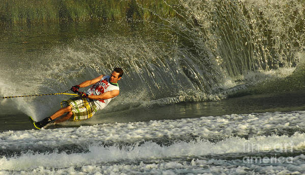 Water Skiing Poster featuring the photograph Water Skiing Magic Of Water 8 by Bob Christopher