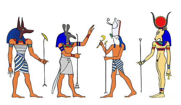 Relief Poster featuring the drawing Egyptian Gods And Goddess by Michal Boubin
