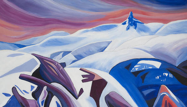 Whistler Poster featuring the painting Black Tusk Sunrise by Ginevre Smith