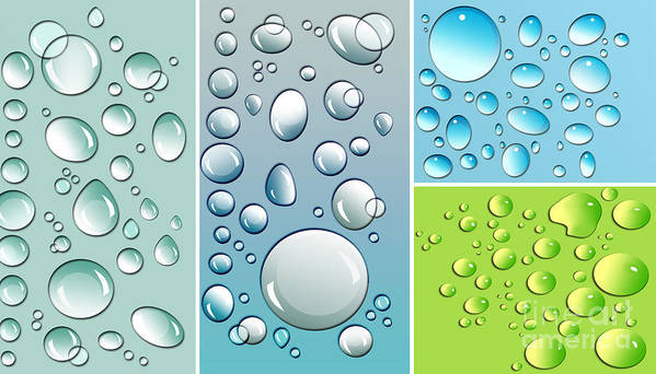 Abstract Poster featuring the digital art Different Size Droplets On Colored Surface by Sandra Cunningham