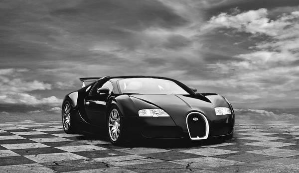 Bugatti Poster featuring the digital art Dream Machine Bw by Peter Chilelli