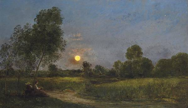 Moonrise Poster featuring the painting Moonrise by Charles Francois Daubigny