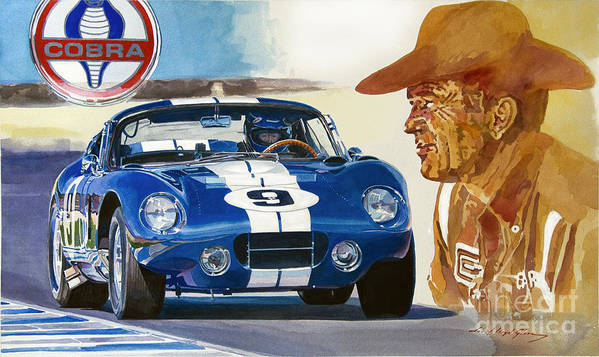 Cobra Daytona Painting Poster featuring the painting 64 Cobra Daytona Coupe by David Lloyd Glover