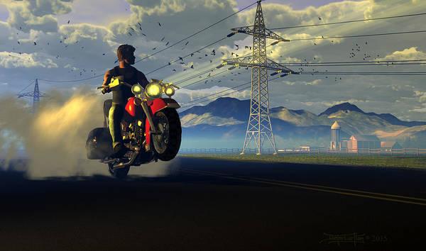 Dieter Carlton Poster featuring the digital art Hog Rider by Dieter Carlton