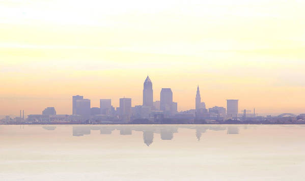 Cleveland Poster featuring the photograph Misty Sunrise In Cleveland by Kitty Ellis