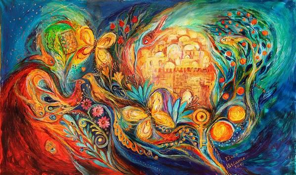 Jewish Art Prints Poster featuring the painting The Key Of Jerusalem by Elena Kotliarker