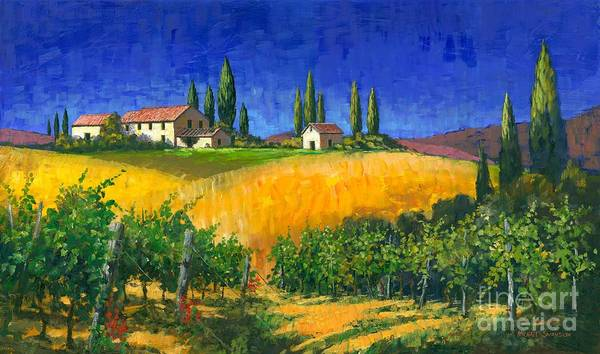 Grape Vines Poster featuring the painting Tuscan Evening by Michael Swanson
