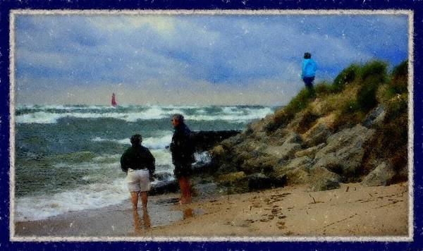 Watching The Storm Come In Rectangle Fine Artwork For Coastal Living Home Lake Front Home Landscape Water Scape Great Lake Of Michigan Lake Michigan Muskegon West Michigan Big Waves Dolomite Rocks Boulders Steel Pier Dune Grass High Winds Big Waves Foot Prints In The Sand Storm Clouds Weather Front Rough Seas Muskegon Lighthouse Rosemarie E Seppala's Great Lakes Shoreline Gallery Artwork Livingroom Dining Room Guest Room Lake Michigan Great Lakes Shoreline Midwest Lakeshore Water Scape Poster featuring the drawing Watching The Storm Come In by Rosemarie E Seppala