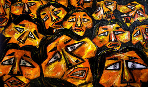 Faces Poster featuring the digital art Faces Yellow by Karen Elzinga