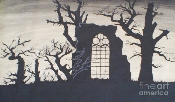 Gothic Poster featuring the drawing Gothic Landscape by Silvie Kendall
