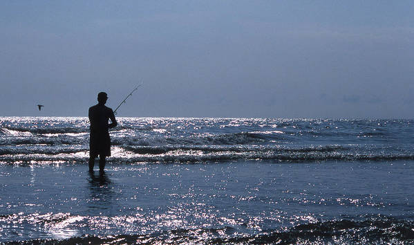 Angler Poster featuring the photograph Solitary Angler by Skip Willits