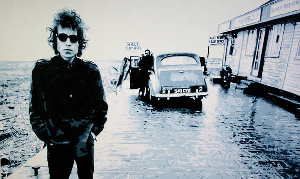 Bob Dylan Poster featuring the painting - No Direction Home - by Luis Ludzska