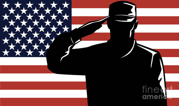 Serviceman Poster featuring the digital art American Soldier Salute by Aloysius Patrimonio