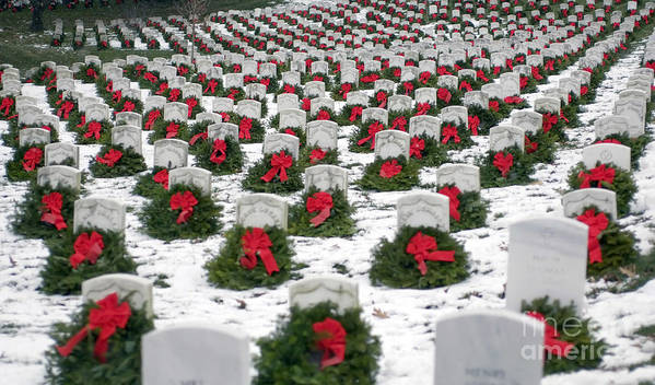 Horizontal Poster featuring the photograph Christmas Wreaths Adorn Headstones by Stocktrek Images