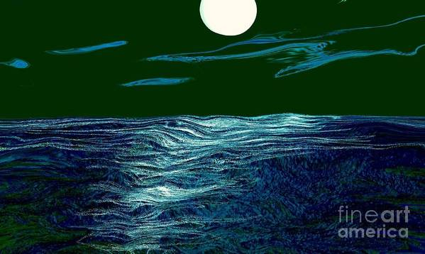 Seascape Poster featuring the mixed media Full Moon 3 by Mimo Krouzian
