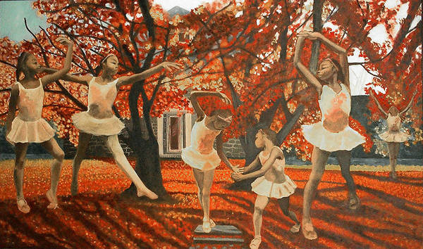 Dancing Poster featuring the painting My Spirit Rises In Fall by Amira Najah Whitfield