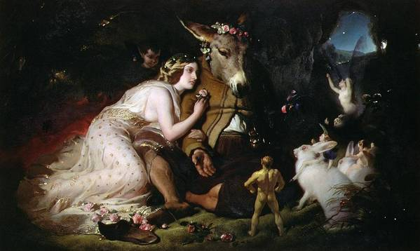 Scene From A Midsummer Night's Dream. Titania And Bottom Poster featuring the painting Scene From A Midsummer Night's Dream by Sir Edwin Landseer