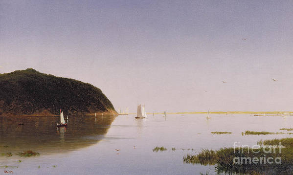 Eastern New Jersey; Monmouth County; View; Boat; Yacht; Landscape; New England; American Landscape; Hudson River School; John Frederick Kensett Poster featuring the painting Shrewsbury River - New Jersey by John Frederick Kensett