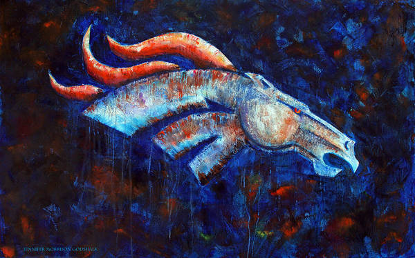 Broncos Poster featuring the painting Abstracted Bronco by Jennifer Godshalk