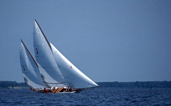 Log Canoe Poster featuring the photograph Grace Under Sail by Skip Willits