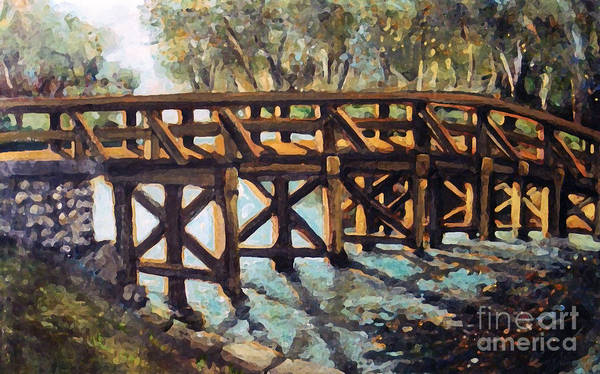 Landscape Poster featuring the painting Morning At The Old North Bridge by Rita Brown