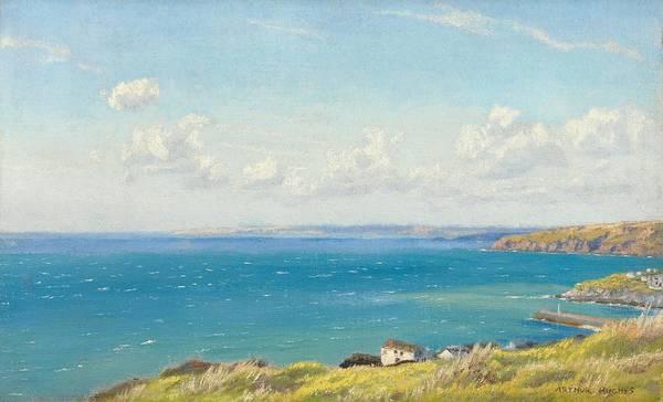 Mount's Bay; Cornwall; Cornish; Coast; Coastal; Seaside; English; England; British; Britain; Sea; Headland Poster featuring the painting Mount's Bay C1899 by Arthur Hughes