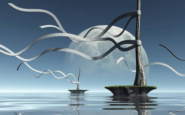 Sea Poster featuring the digital art Ribbon Island by Cynthia Decker