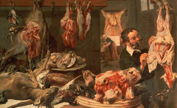 Calf Head Poster featuring the painting The Butcher's Shop by Frans Snyders