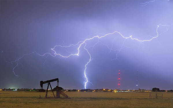 Lightning Poster featuring the photograph Weld County Dacona Oil Fields Lightning Thunderstorm by James BO Insogna
